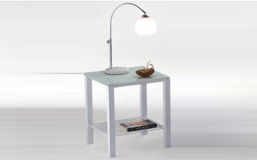 Imagen de Mesa de luz Pilati de metal y vidrio Negra